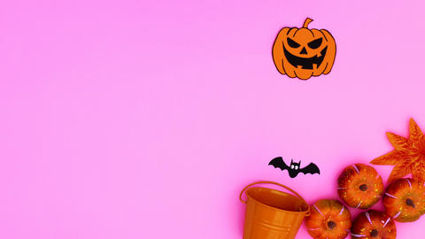 Halloween stickers come out from orange pot on pink theme. Stop motion Animation