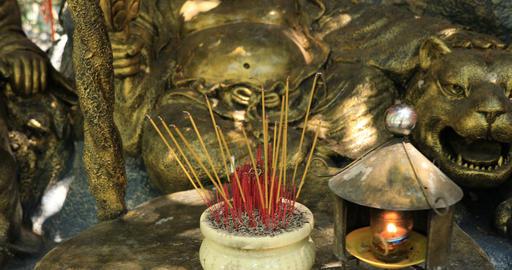 A Guardian statue at Suoi Tien park in Ho Chi Minh Vietnam handheld Live Action