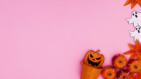 Halloween decoration appear on right side of pink theme. Stop motion Animation