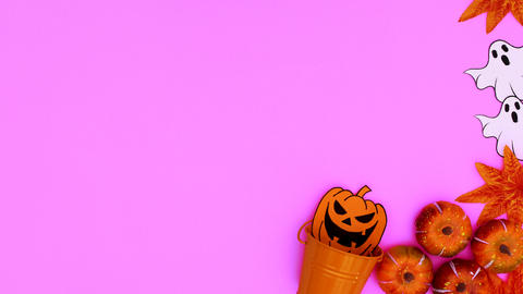 Halloween decoration appear on of pink theme. Stop motion Animation