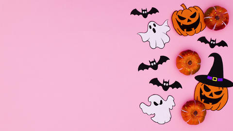 Halloween stickers appear. Stop motion Animation