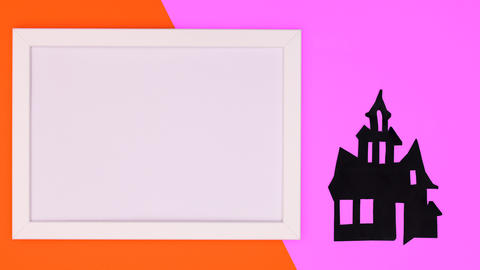 Halloween creepy house and frame for text appear. Stop motion Animation