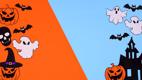 Halloween stickers move on left and right side of blue orange theme. Stop motion Animation