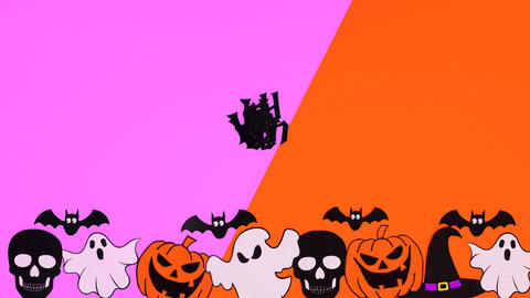 Halloween stickers appear on bottom and letters make Happy Halloween text. Stop motion Animation