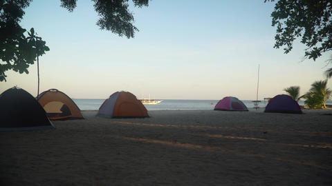 Tents for camping on a tropical beach Live Action