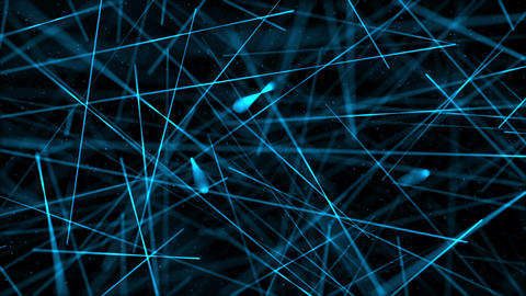 Blue Laser Beams and Particles Technology Background Animation