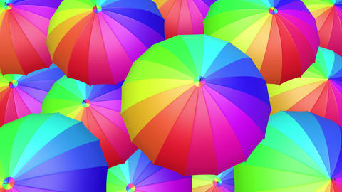 Colorful umbrellas seamless looping 60 fps UHD 3D animation Animation
