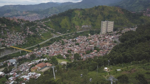 Medellin, Colombia, Drone Aerial View of Metrocable Funicular Gondola Project Live Action