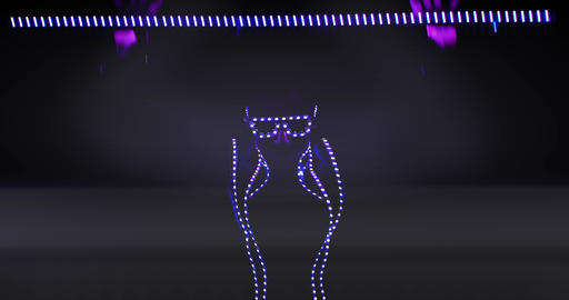 Colorful lights are shining from the costume and glasses, dancing light show, 4k Live Action