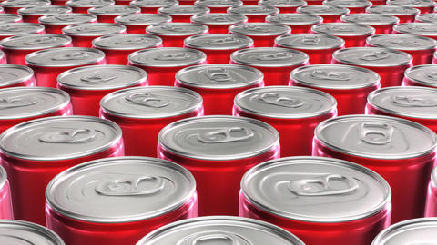 Looping 60 fps 3D animation of the red aluminum soda cans in UHD Animation