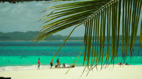 Tropical sandy beach and blue sea, Philippines Live Action