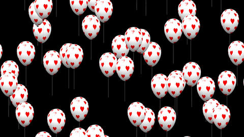Valentine heart balloons generated seamless loop video with alpha matte Animation