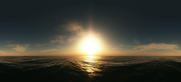 panoramic fly above the ocean at sunset. made with one 360 degree lense VR 360° Video