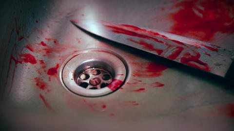 Horror Scene - Knife and Blood in the Sink Live Action