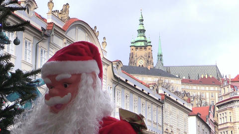 Christmas decorations in the city center of Prague Footage