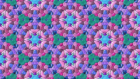 Glass mosaic kaleidoscopic generated seamless loop video Animation