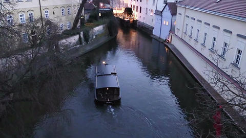 boat in navigation on the river that runs through Prague Footage