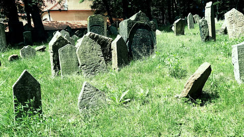 vertical panning in the jewish cemetery of Prague Footage