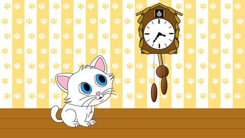 Kitten watching cuckoo clock seamless loop video Animation