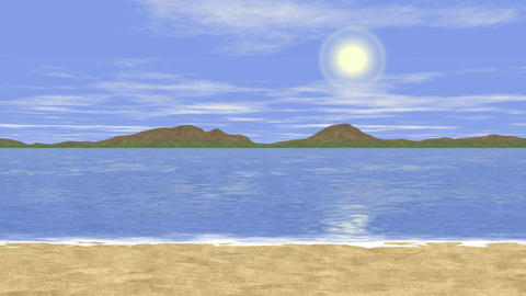 Sunny sea landscape generated seamless loop video Animation