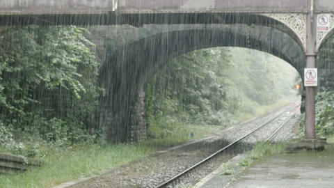 rain on the countryside station: old england station: afternoon raining Footage