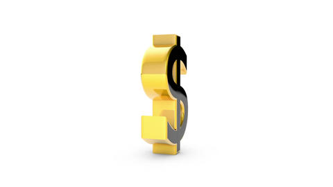 Gold Dollar (money sign, rotates around its axis). 3D render Animation