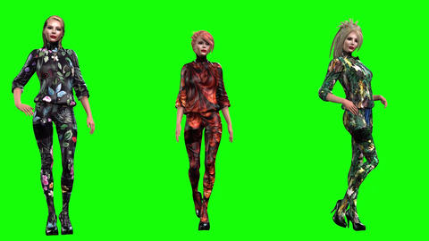 939 HD BEAUTY FASHION 3D animated three girls pose walking present themselves Animation