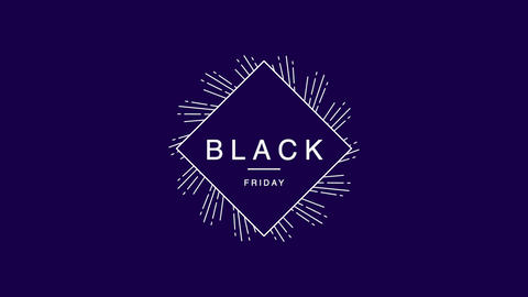 Animation intro text Black Friday on purple hipster and minimalism background Animation
