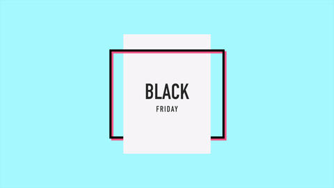 Animation intro text Black Friday on blue fashion and minimalism background with frame Animation
