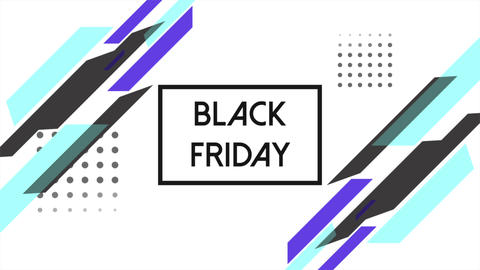Animation text Black Friday and motion abstract geometric shapes, Memphis background CG動画