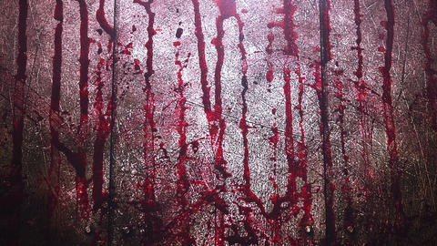 Animated closeup text Coronavirus and mystical horror background with dark blood on wall CG動画