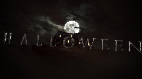 Animation text Halloween and mystical horror background with the house and moon CG動画