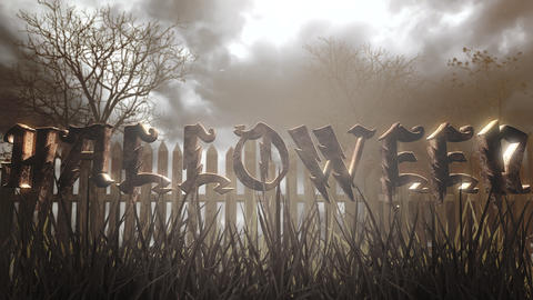 Animation text Halloween and mystical halloween background with dark forest and fog CG動画