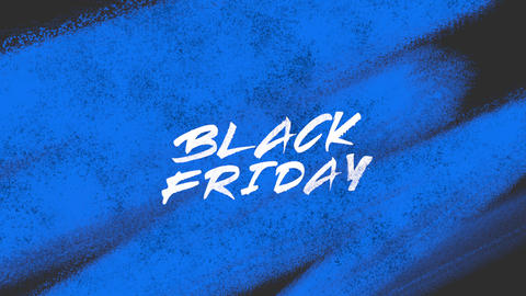 Animation intro text Black Friday on blue fashion and brush background Animation