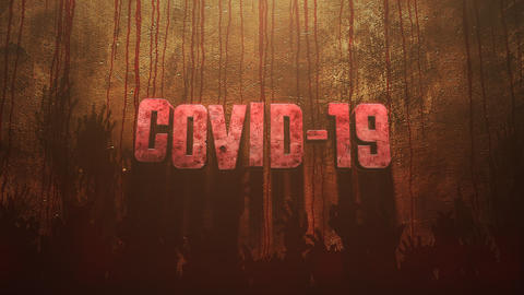 Animated closeup text Covid-19 and mystical horror background with dark blood and help hands CG動画