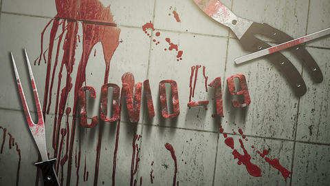 Animated closeup text Covid-19 and mystical horror background with dark blood and medical CG動画