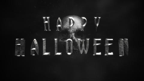 Animation text Happy Halloween on mystical horror background with dark skull CG動画