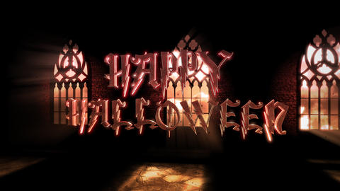 Animation text Happy Halloween and mystical horror background with dark hall of castle CG動画