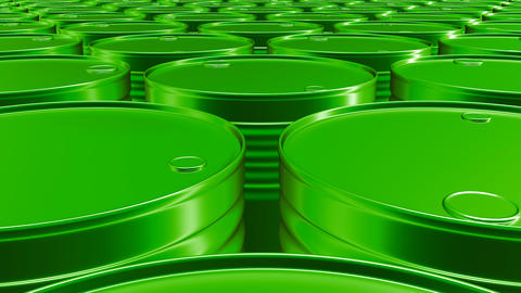 Looping 60 fps 3D animation of the green oil barrels in UHD Animation