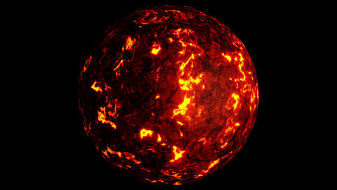 UHD looping 3D animation of the lava planet, last 30 frames is alpha Animation