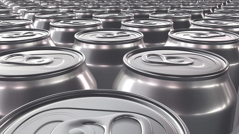 Looping 60 fps 3D animation of the blank aluminum soda cans in UHD Animation
