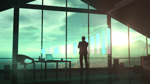Silhouette of a man in a suit looks at the growth infographic 動畫