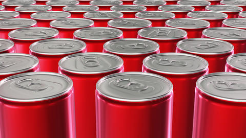 Looping 60 fps UHD 3D animation of the red aluminum soda cans Animation