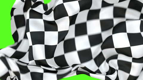 Checkered race flag transition 60 fps 3D animation with alpha matte, shallow depth of field Animation