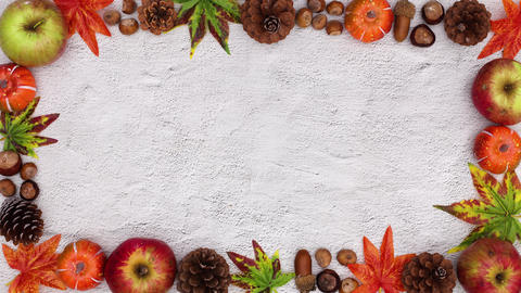 Autumn frame for text moving. Stop motion CG動画