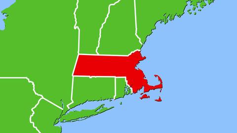 マサチューセッツ州の位置がアップになって赤く表示されます。 CG動画