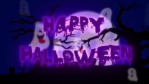 Happy Halloween Ghosts - 10 sec - Purple Animation