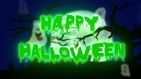 Happy Halloween Ghosts - 10 sec - Green Animation
