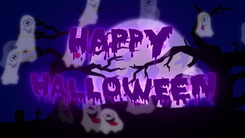 Happy Halloween Ghosts - 05 sec - Purple Animation