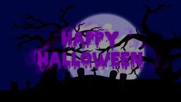 Burning Particle Happy Halloween Text Reveal - Purple CG動画